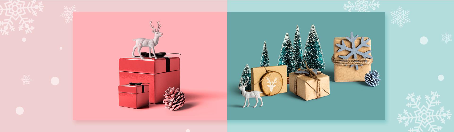 순록과 크리스마스 선물 박스