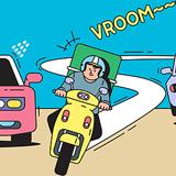 도로 위 무법자 오토바이
